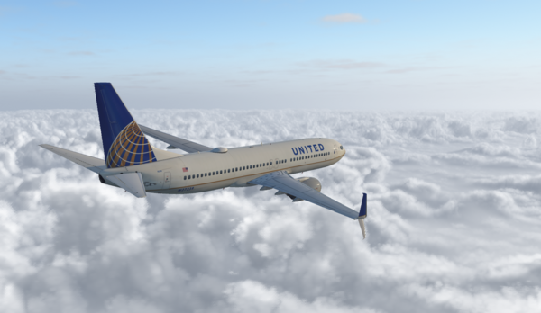 United Airlines 737-800 into Boston