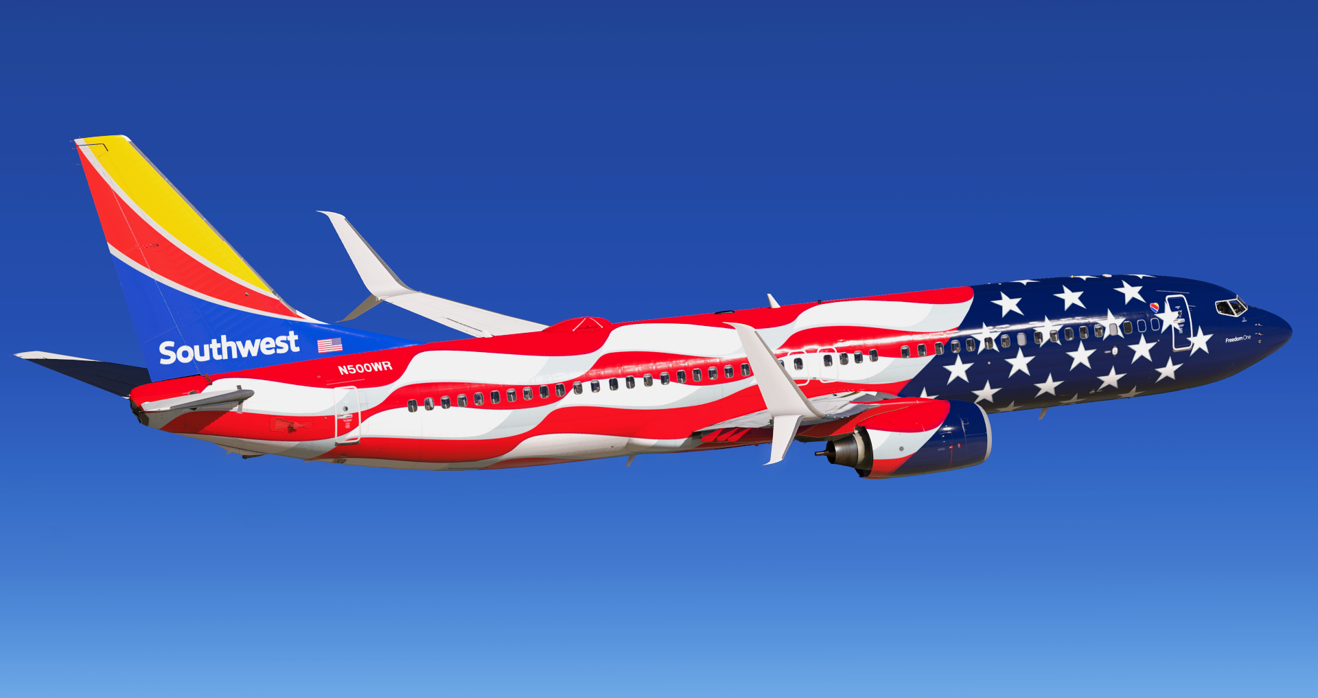 """Southwest Airlines N500WR """"Freedom One"""" B737-8H4 (Zibo) - Aircraft Skins -  Liveries - X-Plane.Org Forum"""